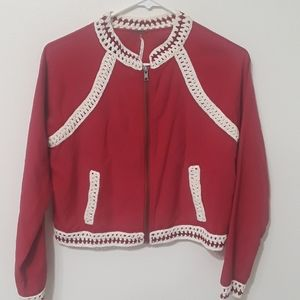 Dark red light jacket with embroidery.
